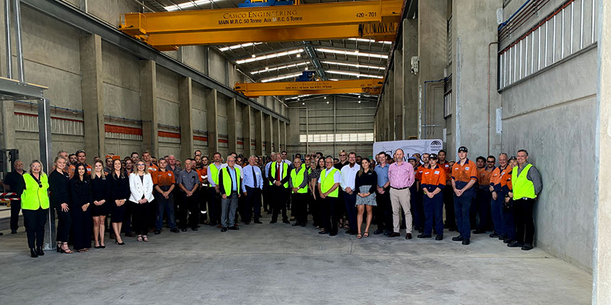 Camco employees and Governor General Kim Beazley in the new Canning Vale workshop