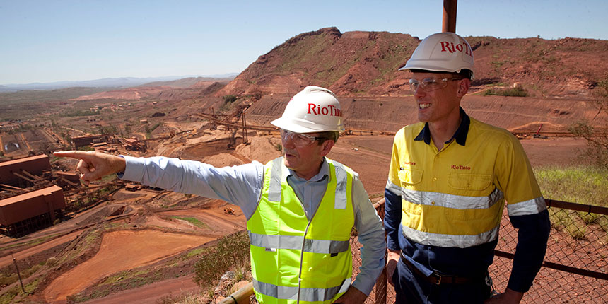 Premier Mark McGowan and Rio Tinto Managing Director Pilbara Mines Matthew Holcz look over the Mt Tom Price mine at the launch of the hospital project.