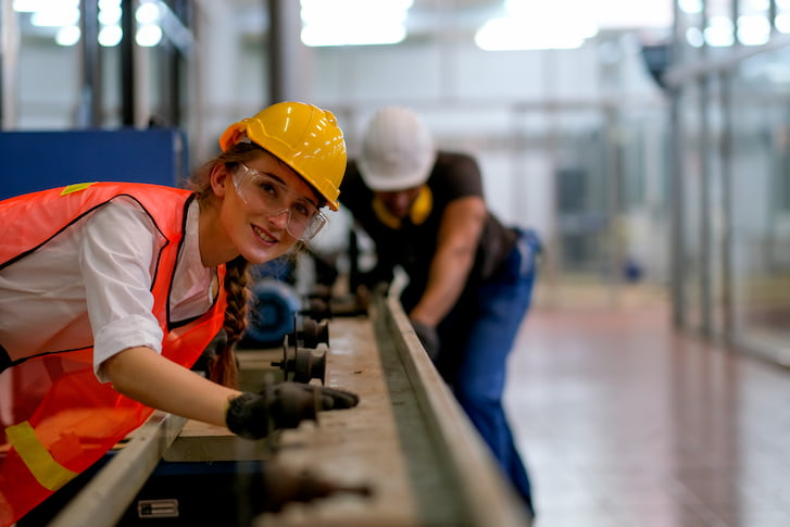 Young people take part in industry training.